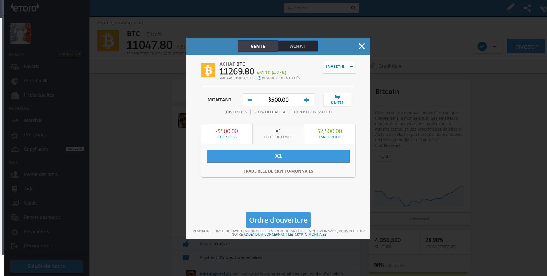 Etoro Ouverture Position Bitcoin